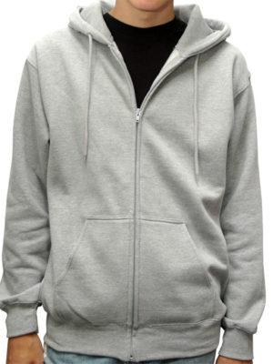 Heather Grey Premium Full Zip Wholesale Hoodies