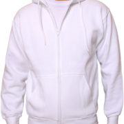 White Premium Full Zip Wholesale Hoodies