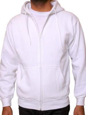 5109 White Premium Full Zip Hoodies